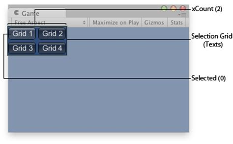 layout grid unity3d unity scripting api guilayout selectiongrid