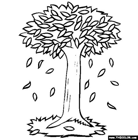 falling leaves online coloring page