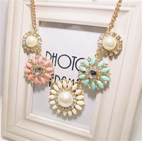 Owl Necklace Murah small flower necklace kalung wanita white pink