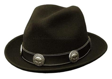Harley Davidson Hats For Sale by Harley Davidson Wool Fedora Trilby Black Skull Stingy Hat
