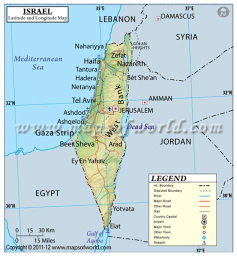 israel longitude and latitude lines through israel map latitude longitude