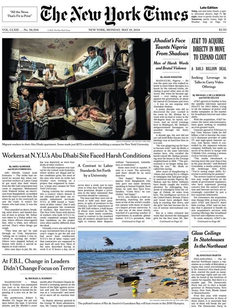 the new york times front page may 19 workers at nyu s