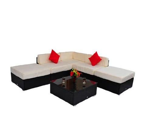 deluxe outdoor rattan garden wicker 6 piece sofa set patio