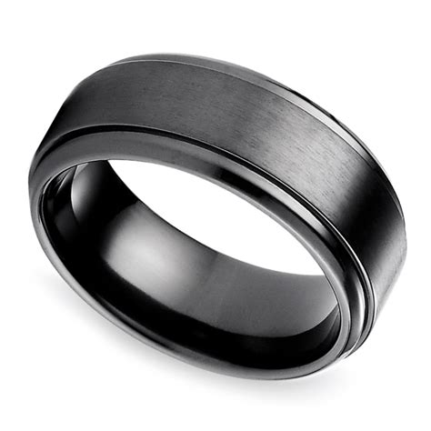 step edge s wedding ring in black titanium