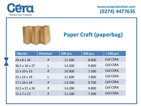 Harga Paperbag harga paper craft paperbag ceraproduction