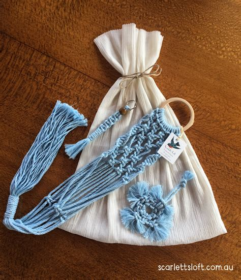 Handmade Australian Gifts - gift set of three macrame items in blue handmade in