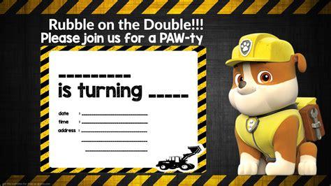 Free Printable Rubble Paw Patrol Invitation Template Free Invitation Templates Drevio Paw Patrol Invitation Template Blank