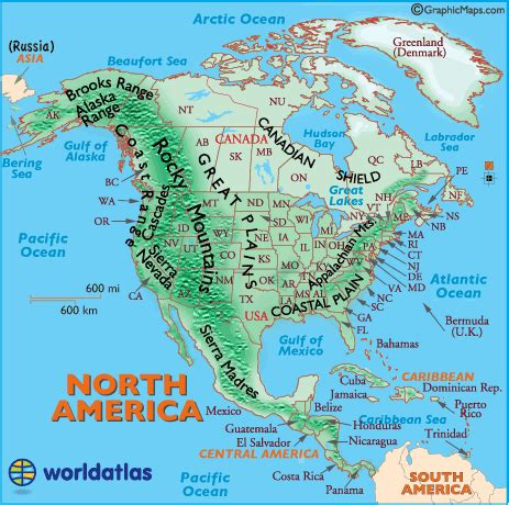 us map with cities and mountains landforms of north america mountain ranges of north