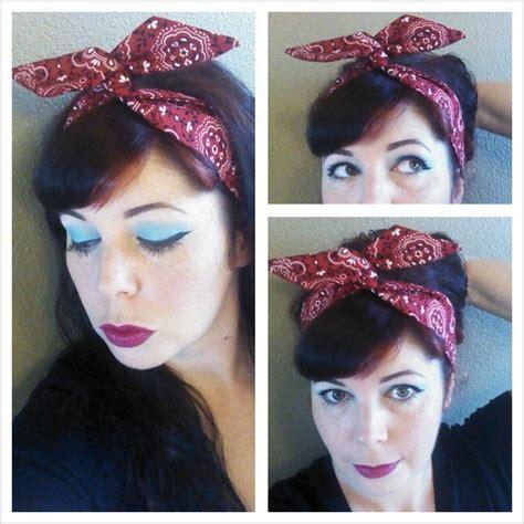 1940s bandana hairstyles skinny dolly bow red bandana print hair bow 1940s 1950s