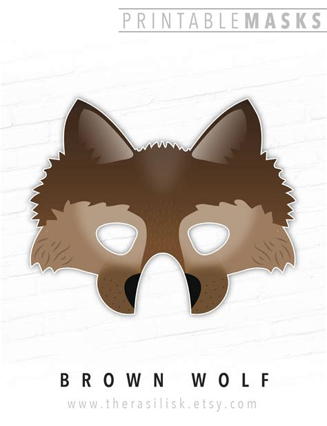 printable werewolf mask printable halloween mask wolf mask brown animal mask dire