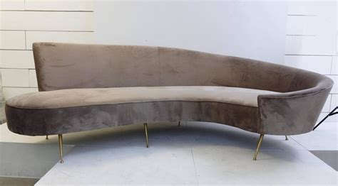 Small Curved Sofas Italian Curved Sofa New Upholstery And Small Typical Brass Legs For Sale At 1stdibs