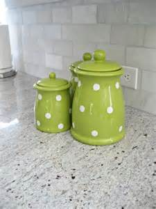 Green Kitchen Canister Set by Cute Green Polka Dot Canister Set Adds A Nice Pop Of