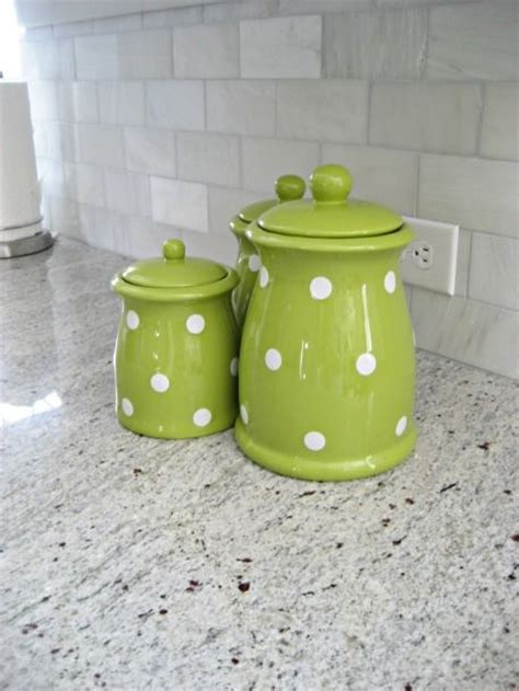 Cute Kitchen Canister Sets | cute green polka dot canister set adds a nice pop of