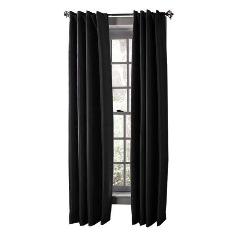 black window curtains solaris black media back tab curtain 1622299 the home depot