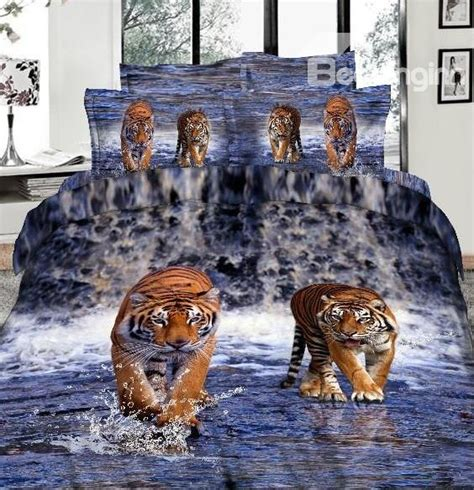 amazing bed sets imperial lifelike tiger 3d printed 4 piece cotton duvet