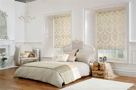 white bedroom blinds shimmering cream and white gold damask patterned roller