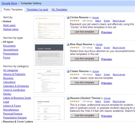 10 sle google docs resume template