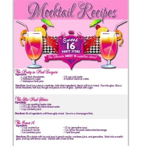 printable games for sweet 16 party free sweet 16 party mocktail recipes sweet 16 party store