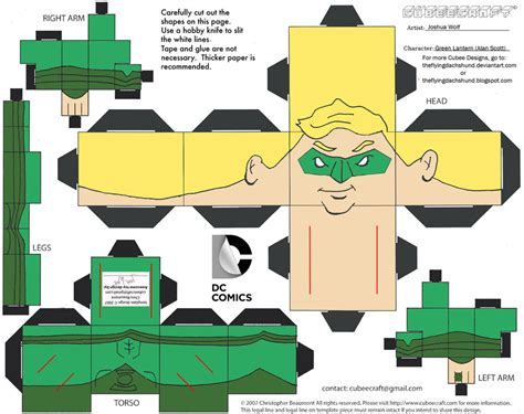 Green Lantern Papercraft - dcnu17 earth 2 green lantern cubee by theflyingdachshund