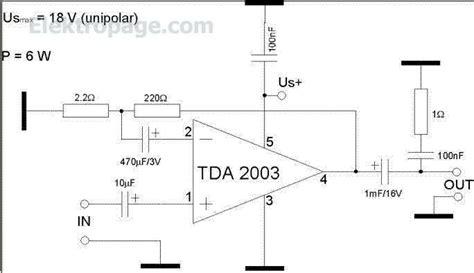 Ic Tda 2003 Ic St Audio Lifier tda2003 6 watt lifier schematic circuit tda2003 6 watt lifier circuit and notes