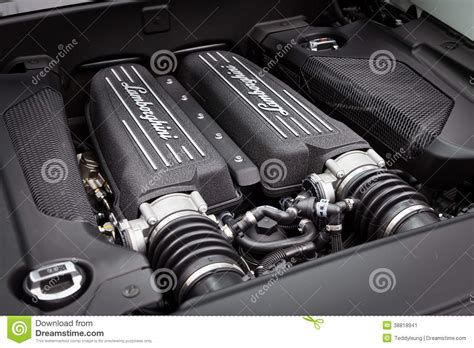 lamborghini engine in car lamborghini lp560 4 car engine editorial photo
