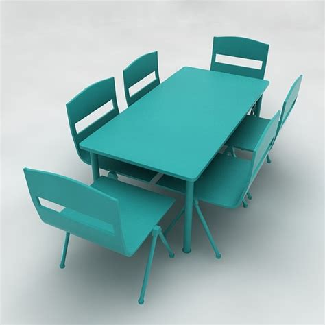 Play School Desk And Chair 3d play school desk table chairs model