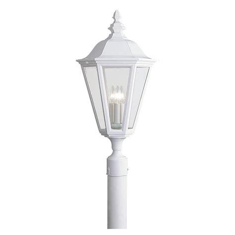 3 light l post sea gull lighting lancaster 3 light outdoor polished brass