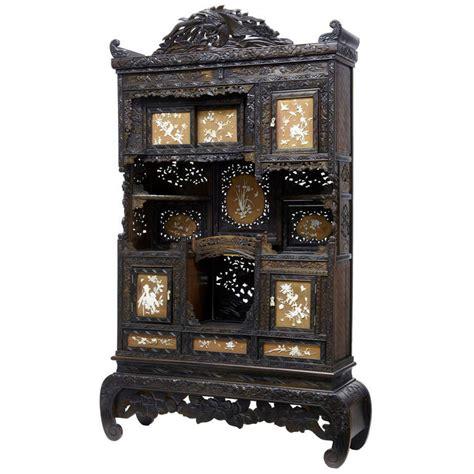Decorative Display Cabinets early 20th century shibayama japanese carved decorative