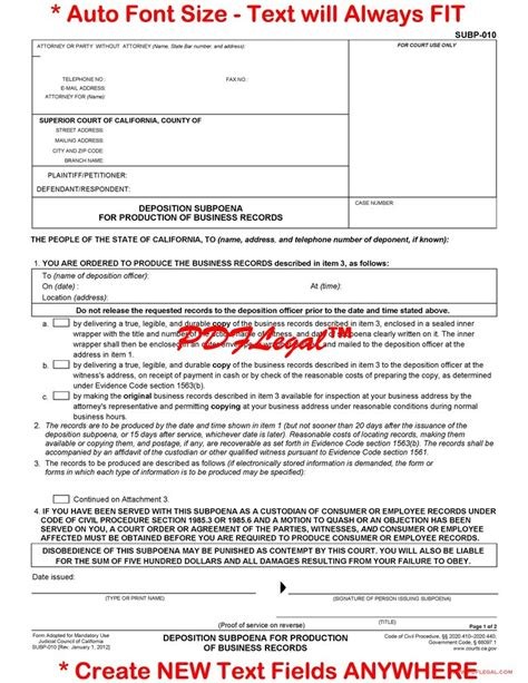 Can Divorce Lawyers Subpoena Phone Records Subp 010 Deposition Subpoena For Production Of Business