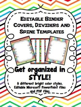 rainbow editable binder covers dividers and spine