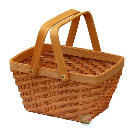 picnic baskets new vintiquewise rectangular wood chip picnic basket with drop handles qi003056 ebay