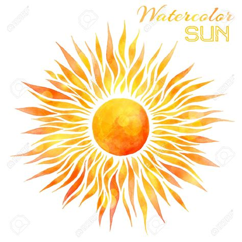 43334118 watercolor sun vector illustration hand drawn