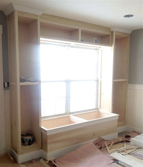 diy window seat bookcase built in bookcase and window seat for the office
