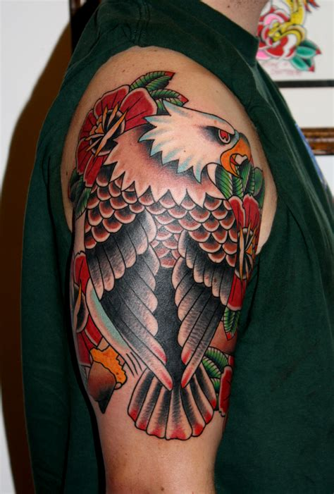 eagle sleeve tattoo colored right half sleeve eagle