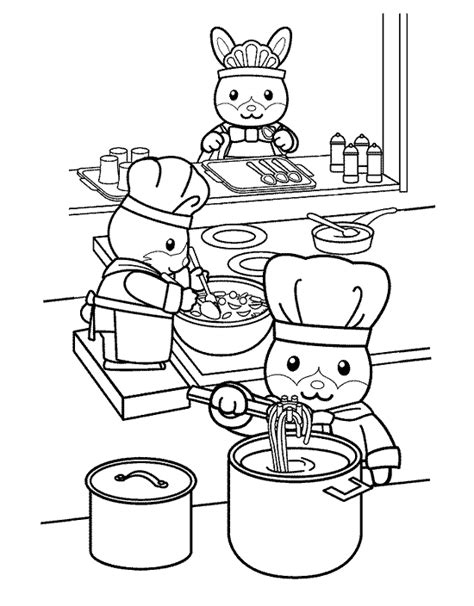 coloring page of a kitchen kitchen and cooking coloring pages coloringpages1001 com