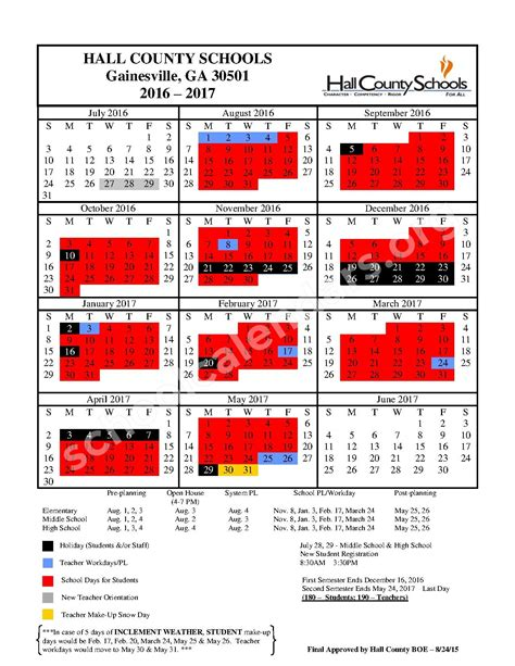 County Ga School Calendar 2016 2017 District Calendar Riverbend Elementary