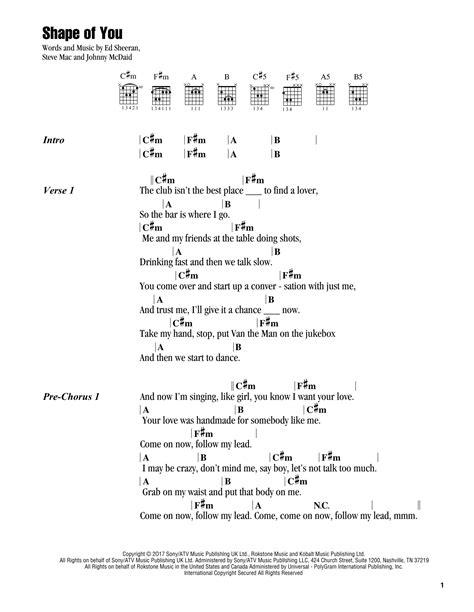 ed sheeran chord shape of you shape of you by ed sheeran guitar chords lyrics guitar