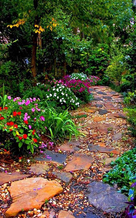colorful garden path  variations  rocks plants