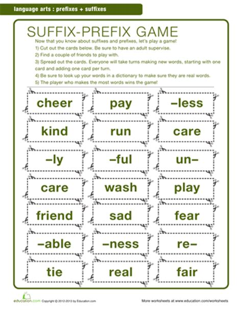 printable games for prefixes and suffixes prefixes and suffixes prefixes worksheets and word