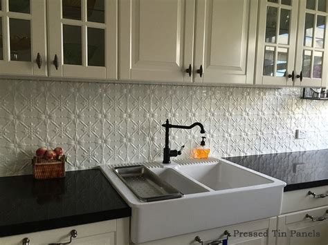kitchen tin backsplash image exle of original pattern of pressed tin panels as