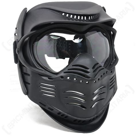 all black tactical gear black paintball mask airsoft protection with