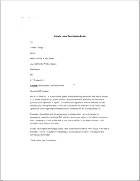 Lease Termination Letter Draft letter of lease termination resume proffesional rental