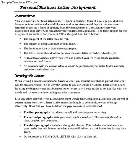 assignment on business letter personal business letter assignment sle templates
