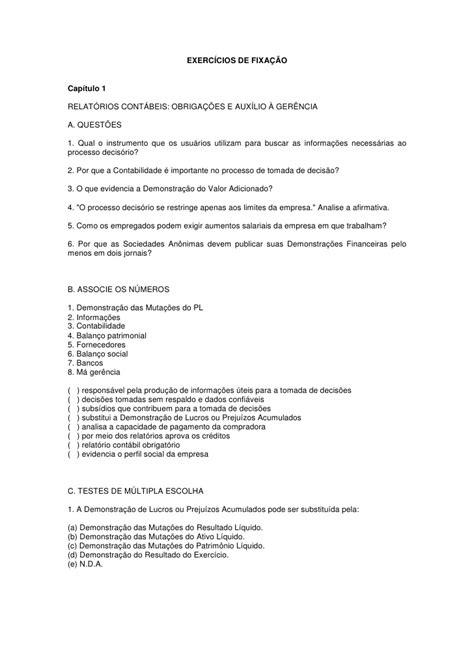 Exercicios contabilidade exercicioscap 1