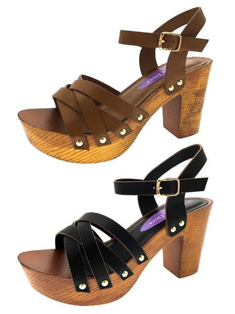 womens stacked platform sandals chunky block high heels