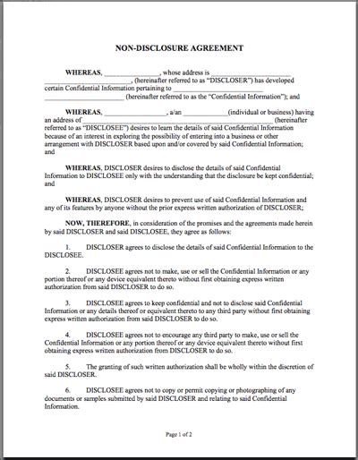 free nda template printable sle non disclosure agreement sle form