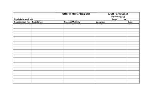 hazardous substance register template coshh register template images resume ideas