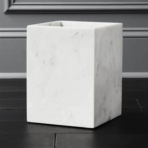 white marble wastebasket  bath accessories reviews cb
