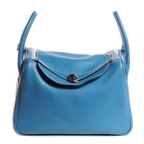 Hermes Lindy 30 V hermes taurillon clemence lindy 30 blue jean 77551