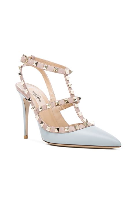 Valentino Studed valentino rockstud studded leather pumps in blue lyst